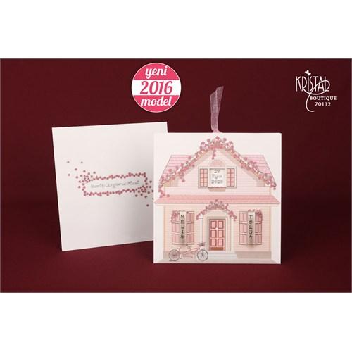 Ev Şeklinde Kurdelalı İlginç Düğün Davetiye 100 Adet Zarfsız