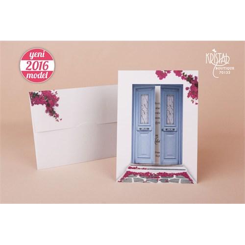Bodrum Evleri Temalı Üç Boyutlu Düğün Davetiye 100 Adet Zarflı