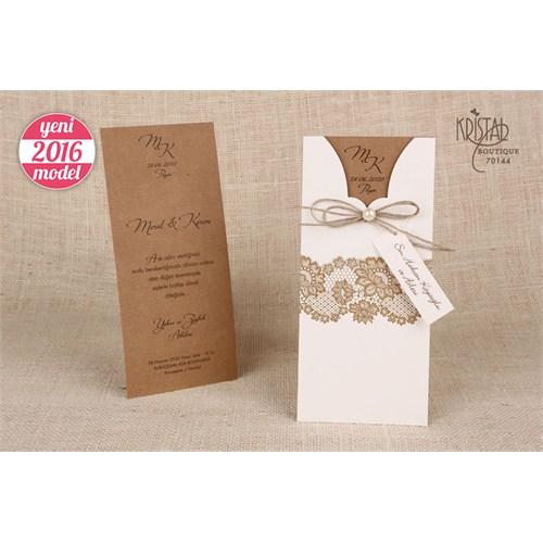 Hasır İp Ve İnci Süslü Rustik Düğün Davetiye 100 Adet Zarflı