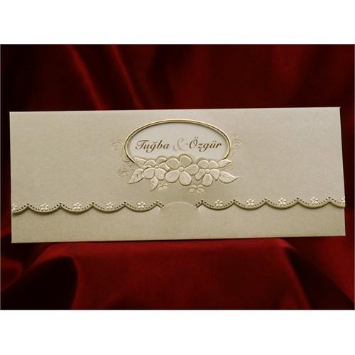 Çiçekli Pencereli Düğün Davetiye 100 Adet Zarflı