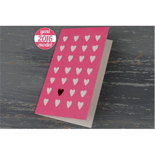 Kalp Desenli Ucuz Sade Pembe Nikah Davetiye 100 Adet Zarflı