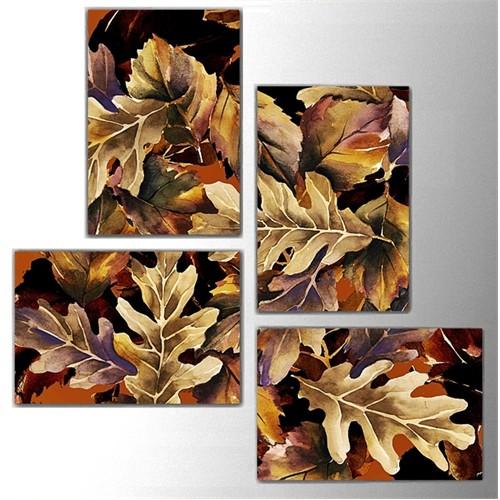 Tictac 4 Parça Kanvas Tablo - Meşe Yaprakları
