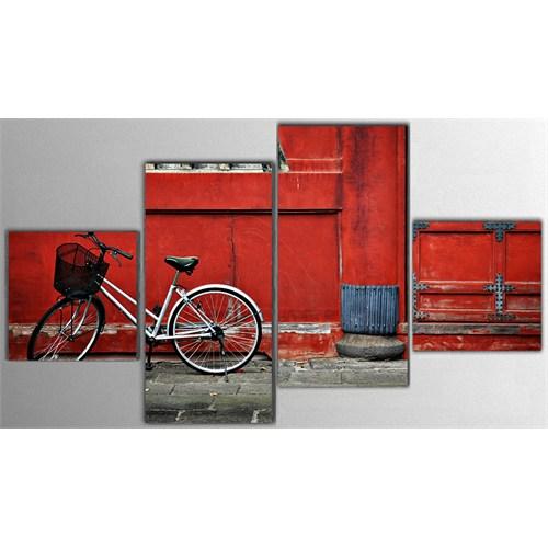 Tictac 4 Parça Kanvas Tablo - Sokaktaki Bisiklet