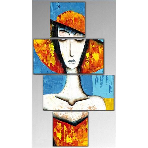 Tictac 4 Parça Kanvas Tablo - Dekoratif Kadın