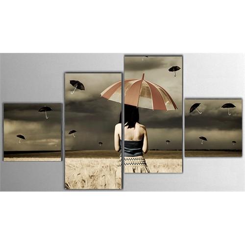 Tictac 4 Parça Kanvas Tablo - Şemsiyeli Kadın