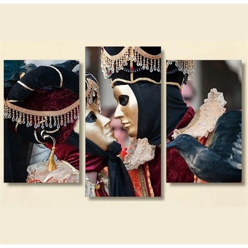 Tictac 3 Parça Kanvas Tablo - Venedik Maskeler