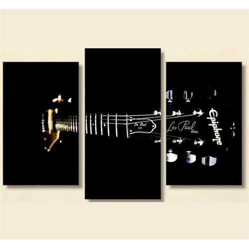 Tictac 3 Parça Kanvas Tablo - Siyah Gitar