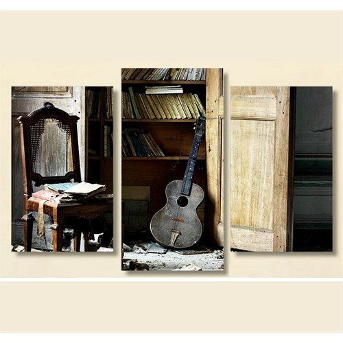 Tictac 3 Parça Kanvas Tablo - Eski Gitar