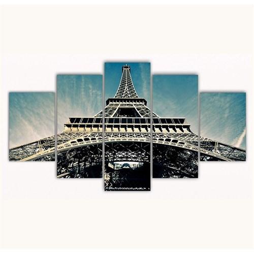 Tictac 5 Parça Kanvas Tablo - Eyfel - 125X75 Cm