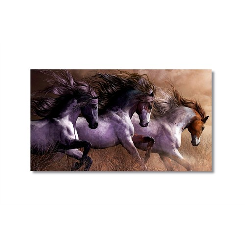 Tictac Koşan Atlar 3 Kanvas Tablo - 40X60 Cm