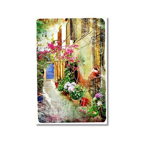Tictac Çiçekli Sokak 1 Kanvas Tablo - 60X90 Cm
