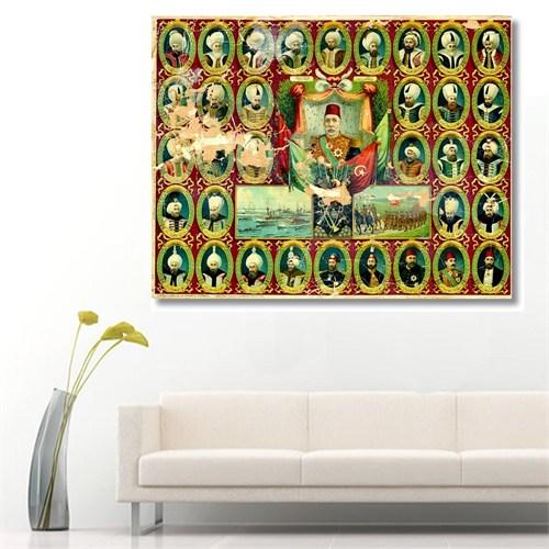 Tictac Osmanlı Padişahları Kanvas Tablo - 60X60 Cm