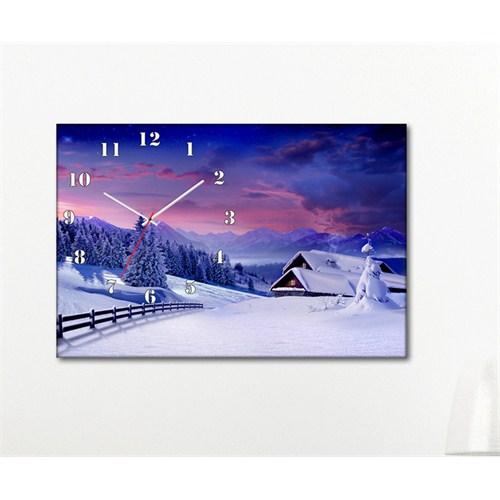 Tabloshop - Kar Beyaz Canvas Tablo Saat - 45X30cm