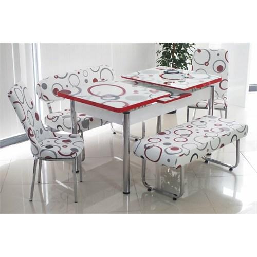 Teknoset Banklı Masa Takımı Mutfak Bank Takımı Açılır Yemek Masası - Halka Desenli