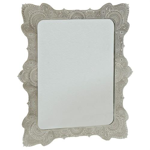 Çağ Deccor Gümüş Lüks Telkari Ayna 30X25 Cm