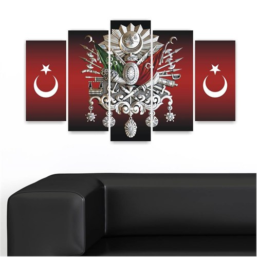 Canvastablom Dekoratif Osmanlı Tuğrası 5 Parçalı Kanvas Tablo