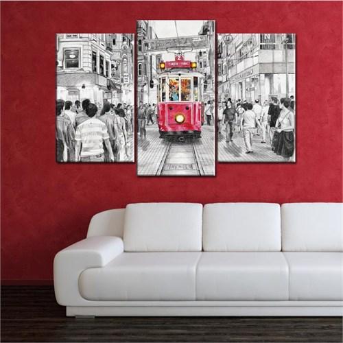 Canvastablom Ü222 Taksim-Tranvay Parçalı Tablo
