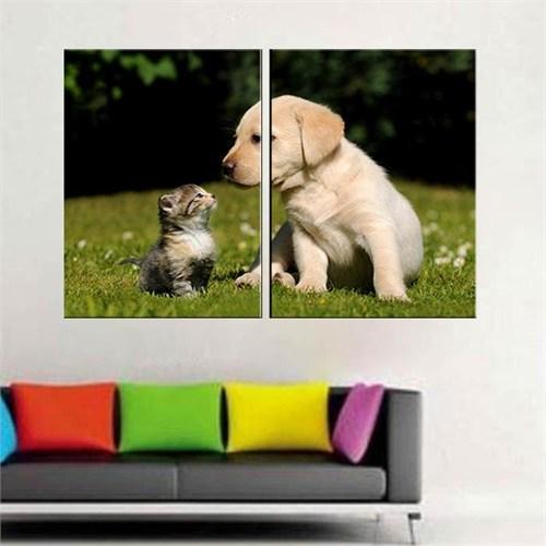 Canvastablom İ216 Yavru Köpek Ve Kedi Parçalı Tablo