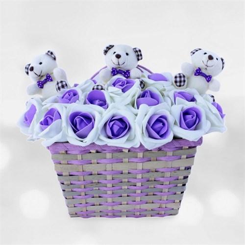 Doğum Günü Hediyesi Tatlı Ayıcıklar Mor Çiçekler