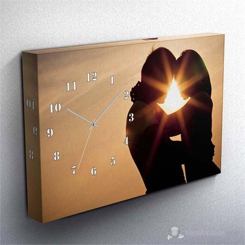 Sevgililer Günü Özel Canvas Tablo Saat Iıı 45X30cm