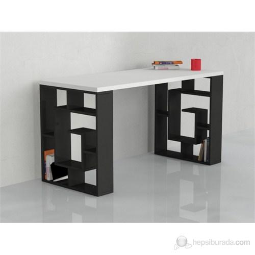 Decortie Labirent Çalışma Masası (Beyaz - Siyah )