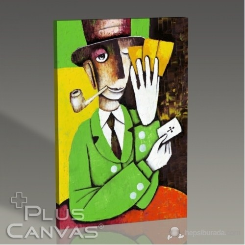 Pluscanvas - Marinne Vias - Man Playing Cards Tablo