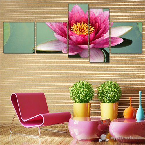 Tabloshop - Lotus Beauty - 5 Parçalı Canvas Tablo 180X75cm