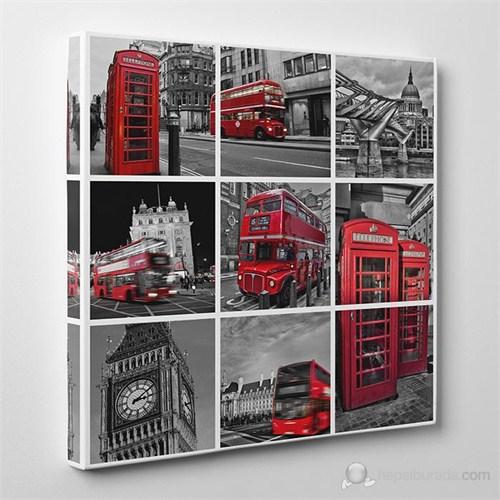 Tabloshop - İngiltere Kolaj Canvas Tablo - 60X60cm