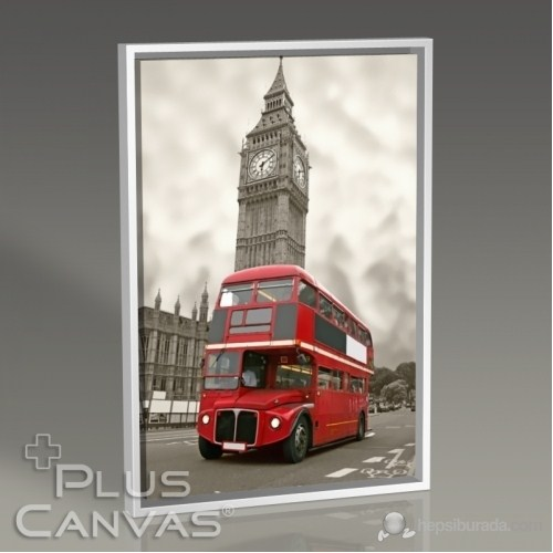 Pluscanvas - London - Red Bus And Big Ben Tablo