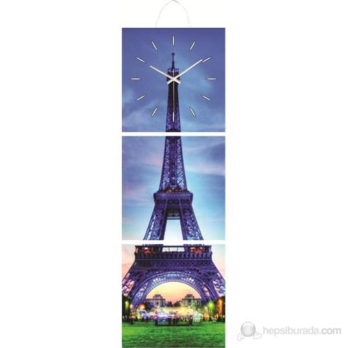 Paris Eyfel Mdf Üçlü Tablo Saat