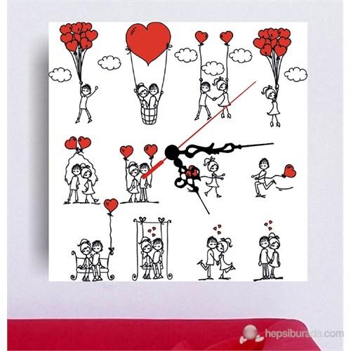 Mutlu Aşk Kanvas Tablo Saat