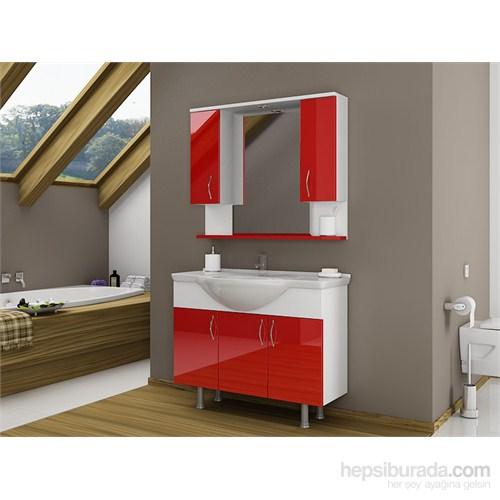 Bestline İnka 100 cm Kırmızı Banyo Dolabı