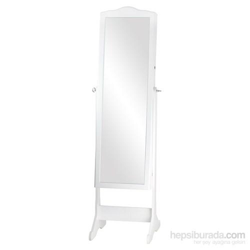 Ahşap Aynalı Takı Dolabı Beyaz