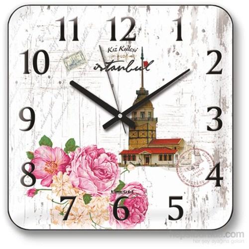 Panaroma Güller Ve Kız Kulesi Manzaralı Duvar Saati