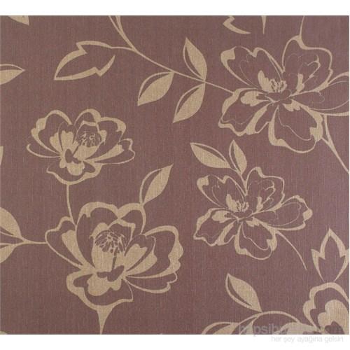 Çiçek Altın-Kahverengi Emboss Duvar Kağıdı