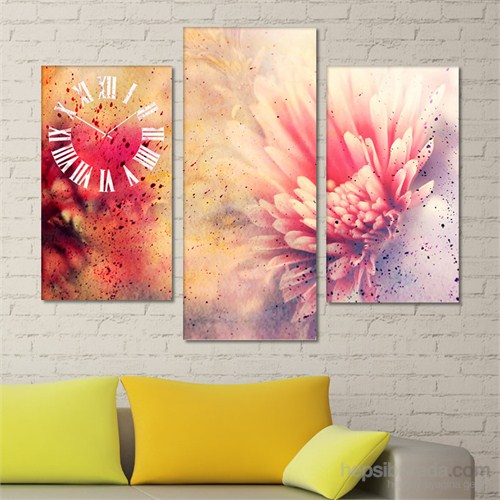 Tabloshop - Abstract Flower Tablo Saat - 81X60cm - Çerçeve Hediye