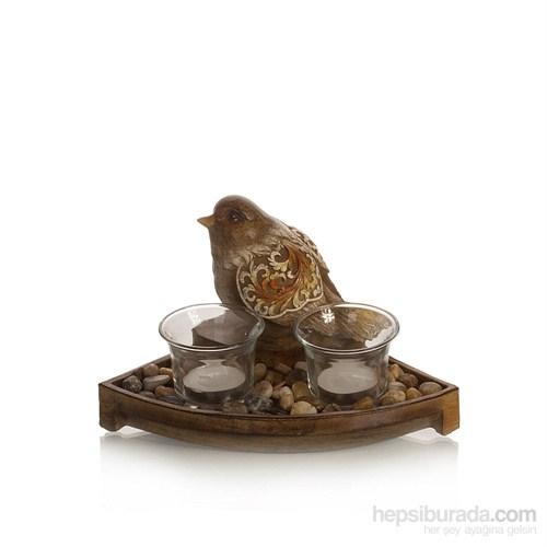Yedifil Üçgen Stantlı Kuşlu Mumluk