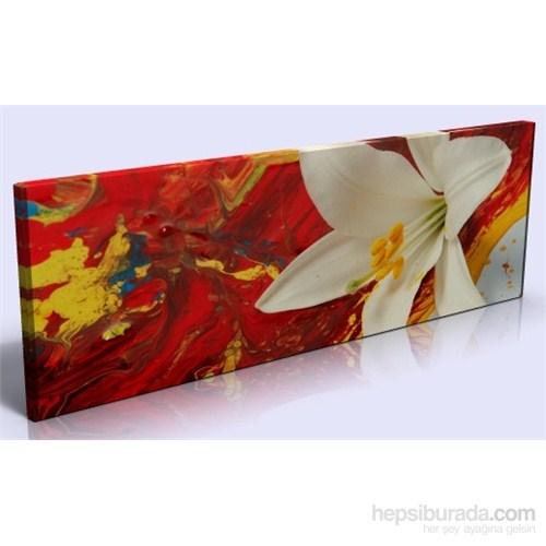 Arte Kırmızı Beyaz Çiçek Kanvas Tablo