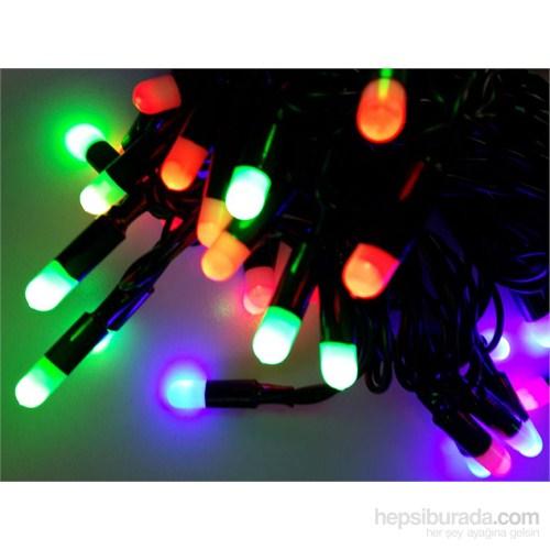 Yeşil Kablolu Multi Color 80 Ampüllü 8 Metre Işık