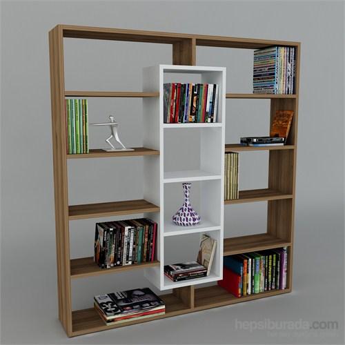 Dekorister Ample Kitaplık Ceviz/Beyaz