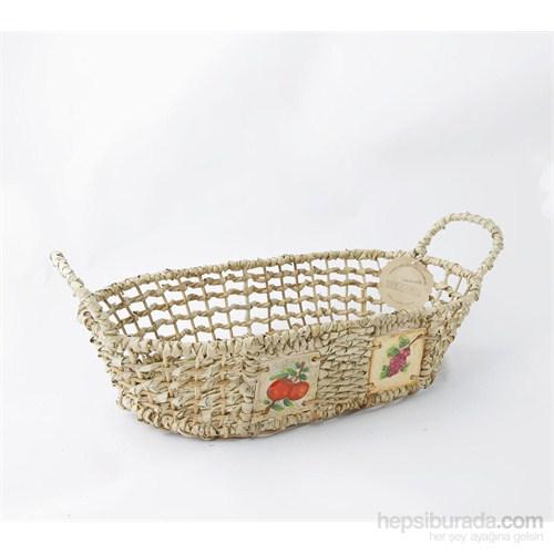Natürel Oval Yayvan Sepet, Meyve, Büyük
