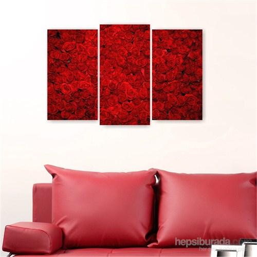 Dekoriza Kırmızı Güller Kanvas Tablo 3 Parçalı Kanvas Tablo 80X50cm