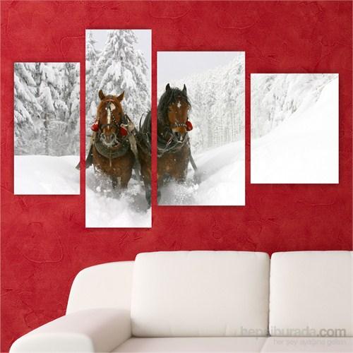Dekoriza Karda Atlar 4 Parçalı Kanvas Tablo 147X90cm