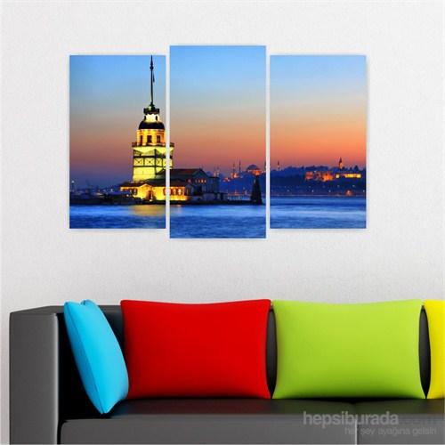 Dekoriza İstanbul Kız Kulesi 3 Parçalı Kanvas Tablo 80X50cm