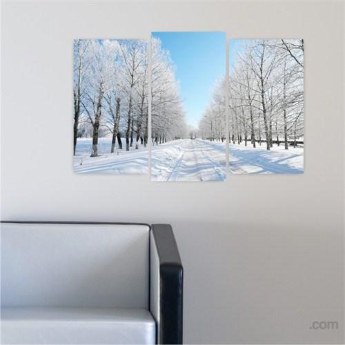 Dekoriza Karlı Ağaçlı Yol 3 Parçalı Kanvas Tablo 80X50cm