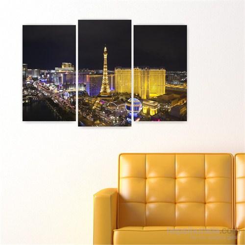 Dekoriza Amerika Las Vegas 3 Parçalı Kanvas Tablo 80X50cm