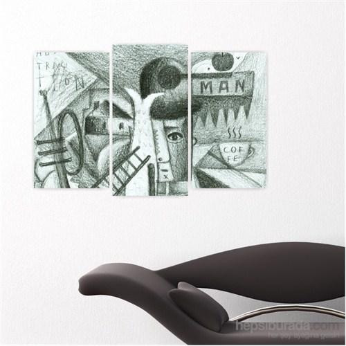 Dekoriza Soyut 3 Parçalı Kanvas Tablo 80X50cm