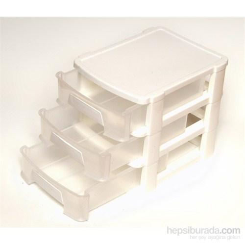 3 Katlı Lüx Küçük Dikiş Kutusu Beyaz