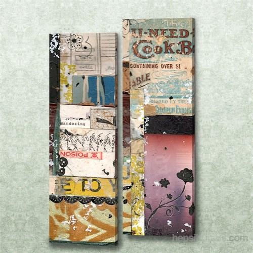 Dekorjinal 2 Li Dikdörtgen Kanvas Tablo Seti Sel056