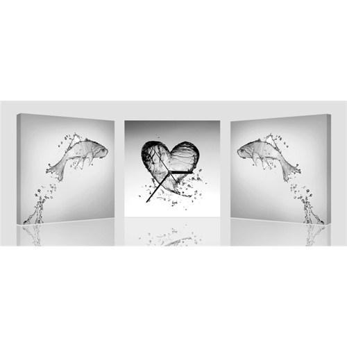 Arte Trio Love & Fish Kanvas Saat